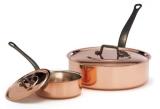 Kupfer-Schmorpfanne mit Deckel / Sauteuse